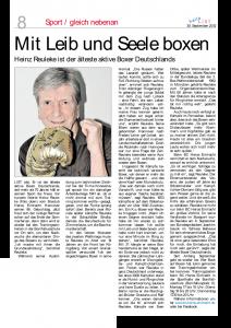 Heinz Reuleke ist ältester Boxer Deutschlands